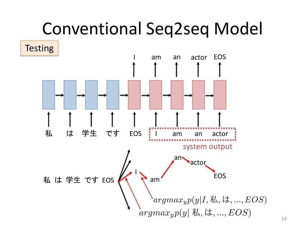 Conventional Seq2seq Model 13 私 は 学生 です EOS I a...