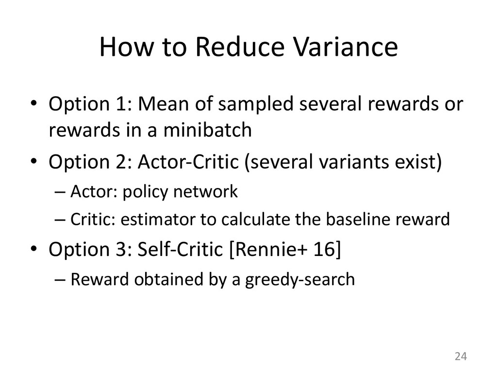 How to Reduce Variance • Option 1: Mean of samp...