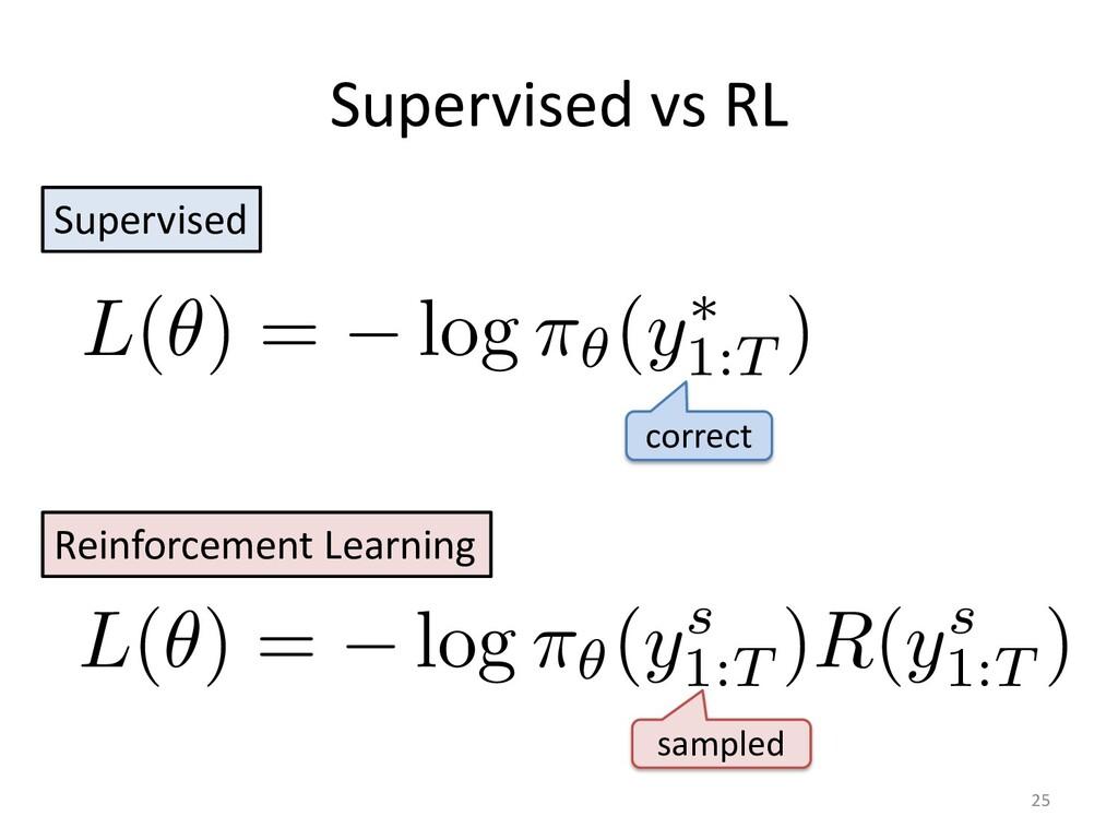 Supervised vs RL 25 Supervised Reinforcement Le...