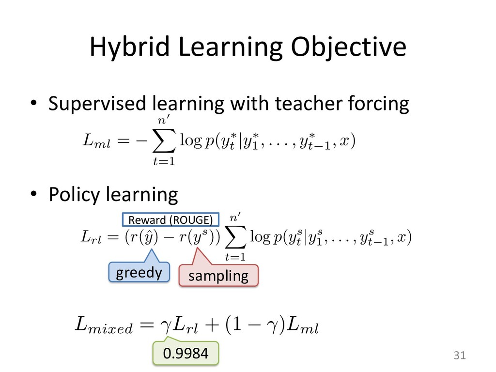 Hybrid Learning Objective • Supervised learning...