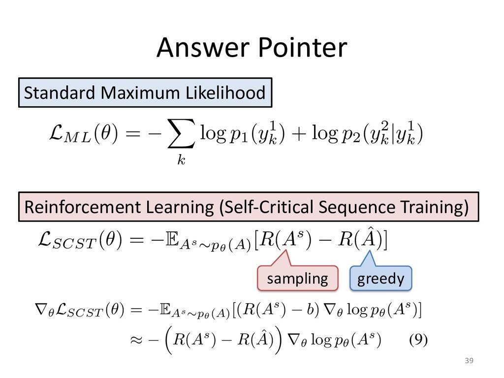 Answer Pointer 39 where ✓ represents all traina...