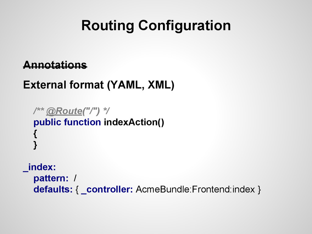 Routing Configuration Annotations External form...