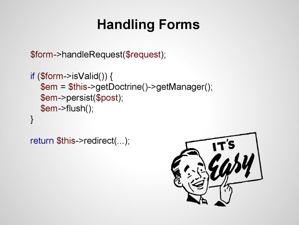 Handling Forms $form->handleRequest($request); ...