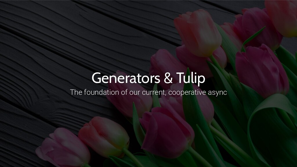 Generators & Tulip The foundation of our curren...