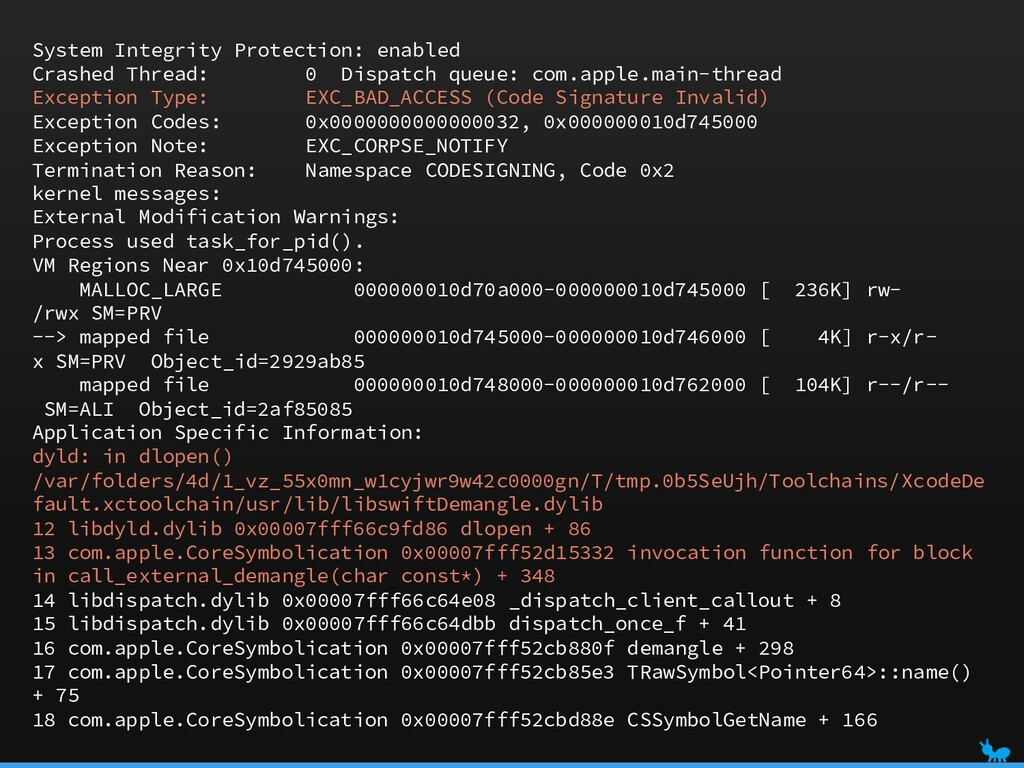 System Integrity Protection: enabled Crashed Th...