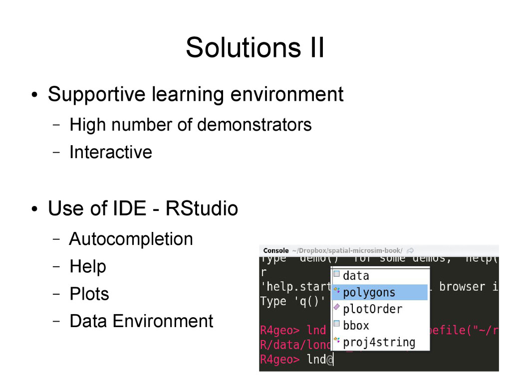 Solutions II ● Supportive learning environment ...