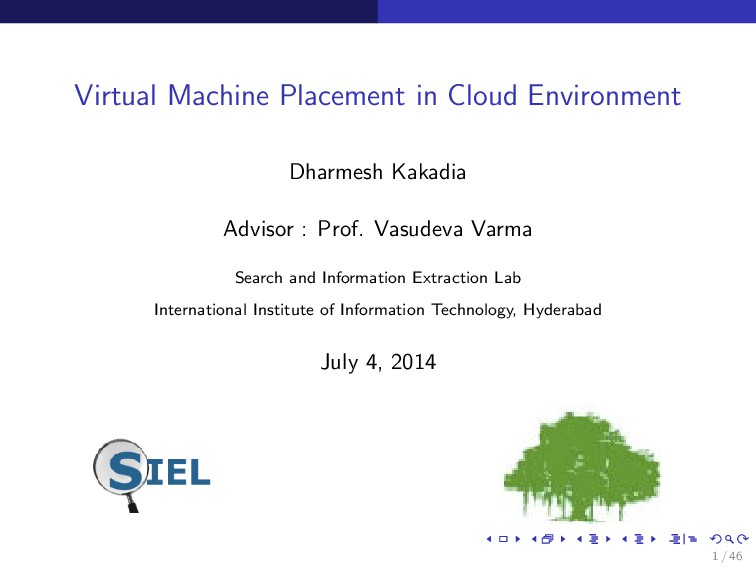 Virtual Machine Placement in Cloud Environment ...