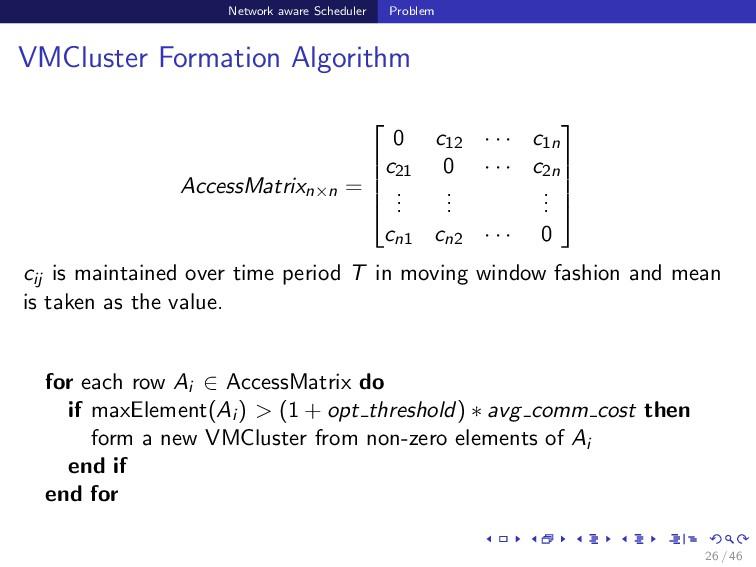 Network aware Scheduler Problem VMCluster Forma...