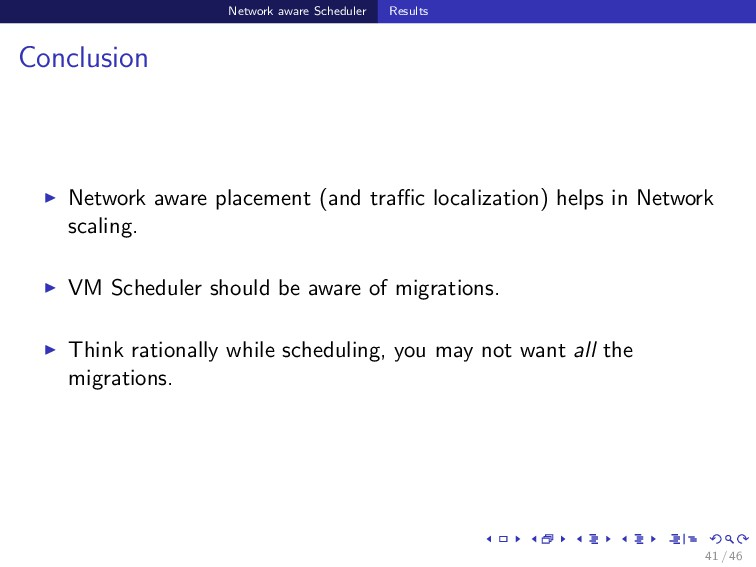 Network aware Scheduler Results Conclusion Netw...
