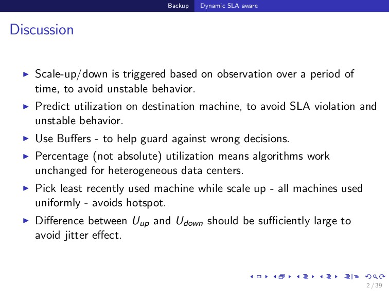 Backup Dynamic SLA aware Discussion Scale-up/do...