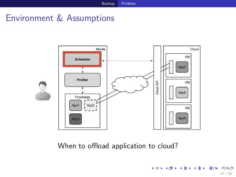 Backup Problem Environment & Assumptions When t...
