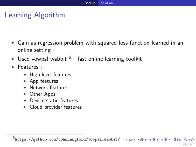 Backup Solution Learning Algorithm Gain as regr...