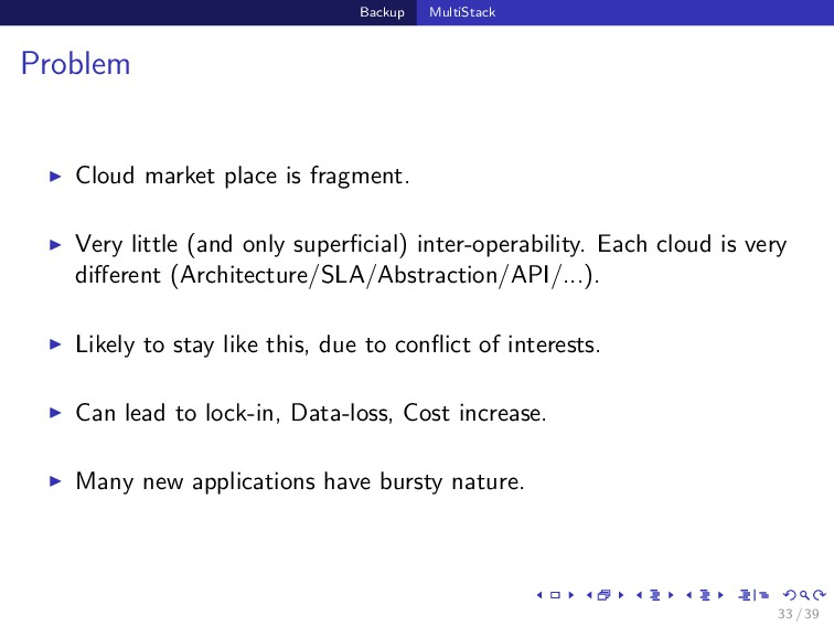 Backup MultiStack Problem Cloud market place is...