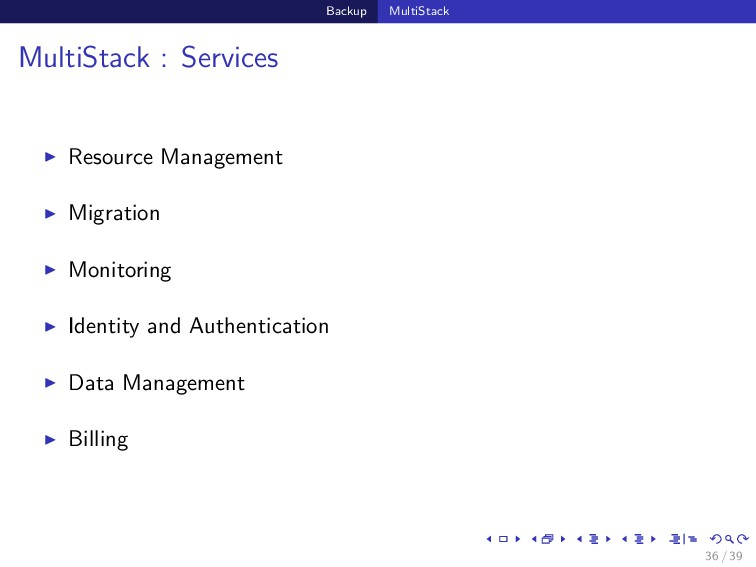 Backup MultiStack MultiStack : Services Resourc...