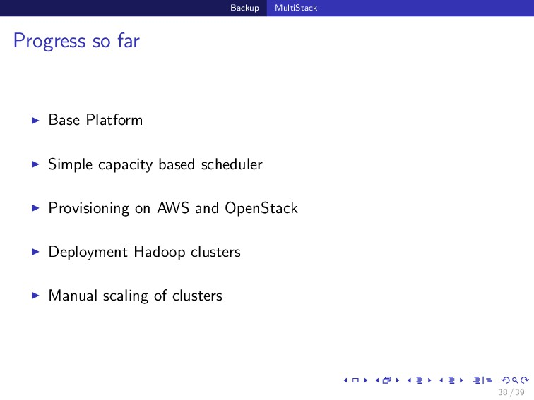 Backup MultiStack Progress so far Base Platform...
