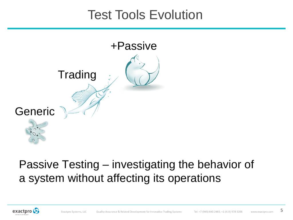 Test Tools Evolution 5 Passive Testing – invest...