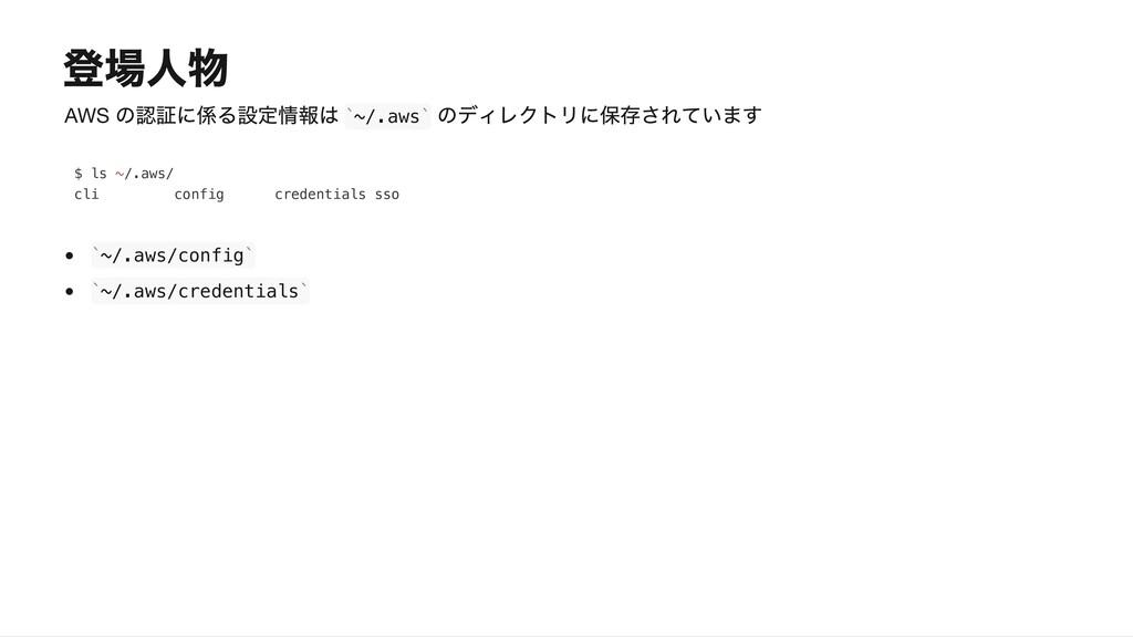 AWS ~/.aws ~/.aws/config ~/.aws/credentials ` `...