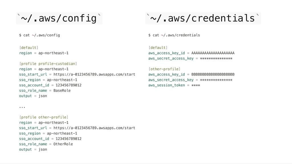 ~/.aws/config ~/.aws/credentials ` ` $ cat ~/.a...