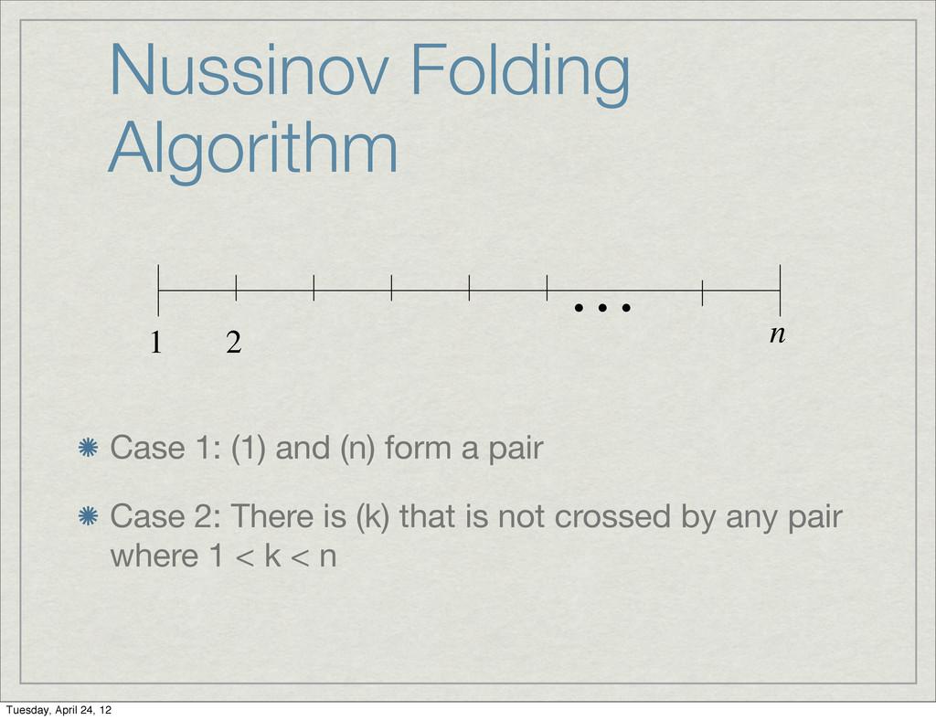 Nussinov Folding Algorithm Case 1: (1) and (n) ...