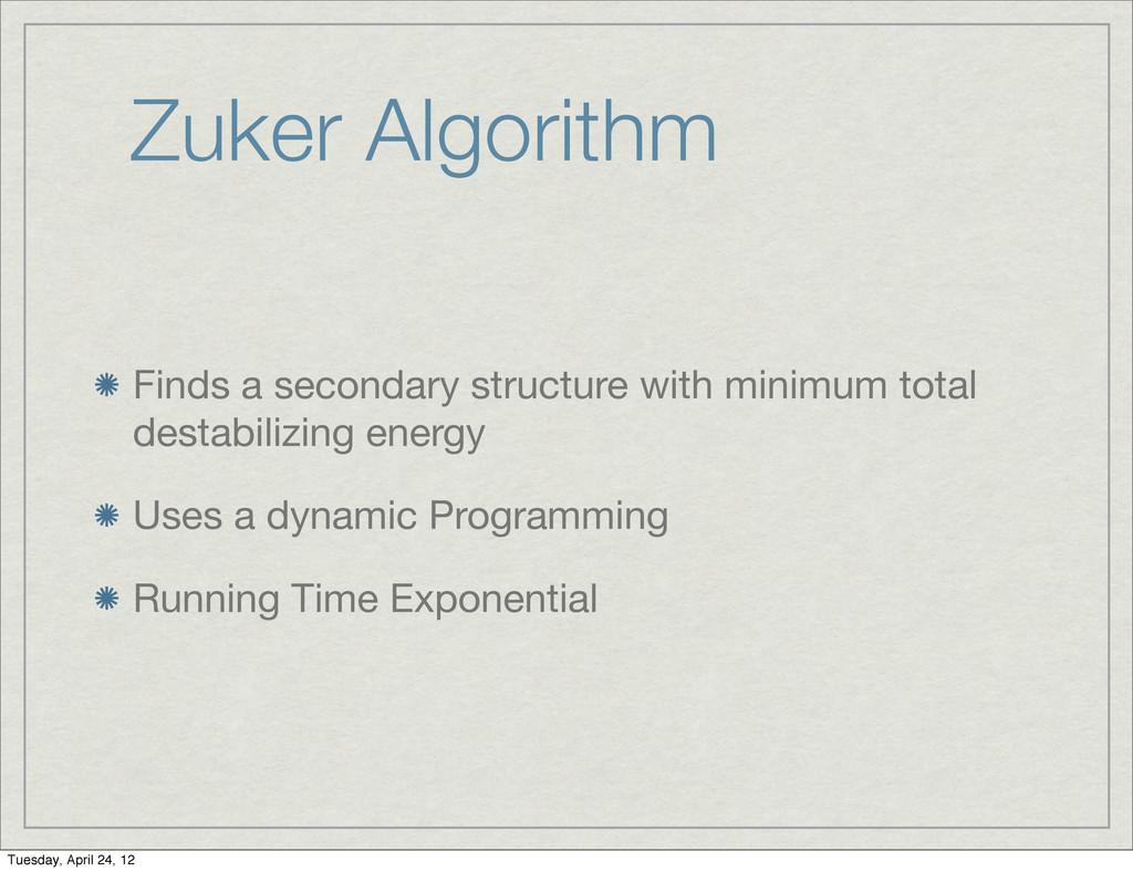 Zuker Algorithm Finds a secondary structure wit...
