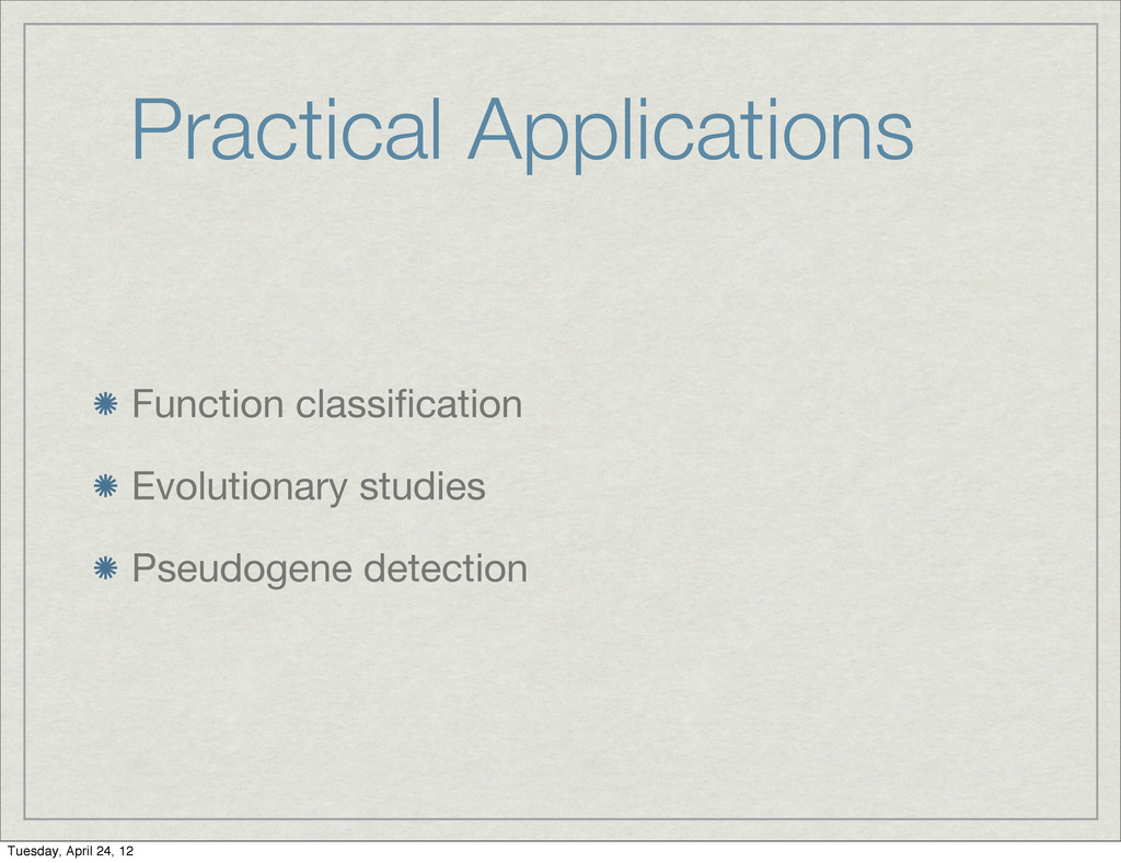 Practical Applications Function classification E...