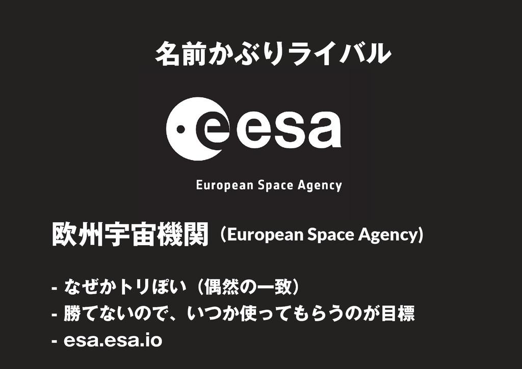 9 名前かぶりライバル 欧州宇宙機関(European Space Agency) - なぜか...