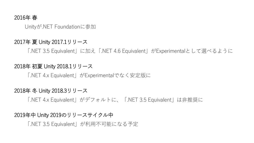 2016年 春 Unityが.NET Foundationに参加 2017年 夏 Unity ...