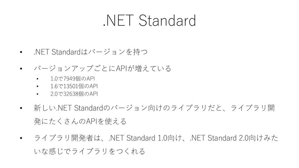 .NET Standard • .NET Standardはバージョンを持つ • バージョンア...