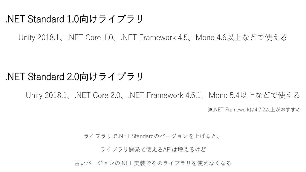 .NET Standard 1.0向けライブラリ Unity 2018.1、.NET Core...