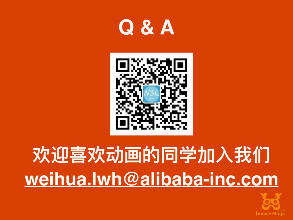 Q & A 欢迎喜欢动画的同学加⼊入我们 weihua.lwh@alibaba-inc.com