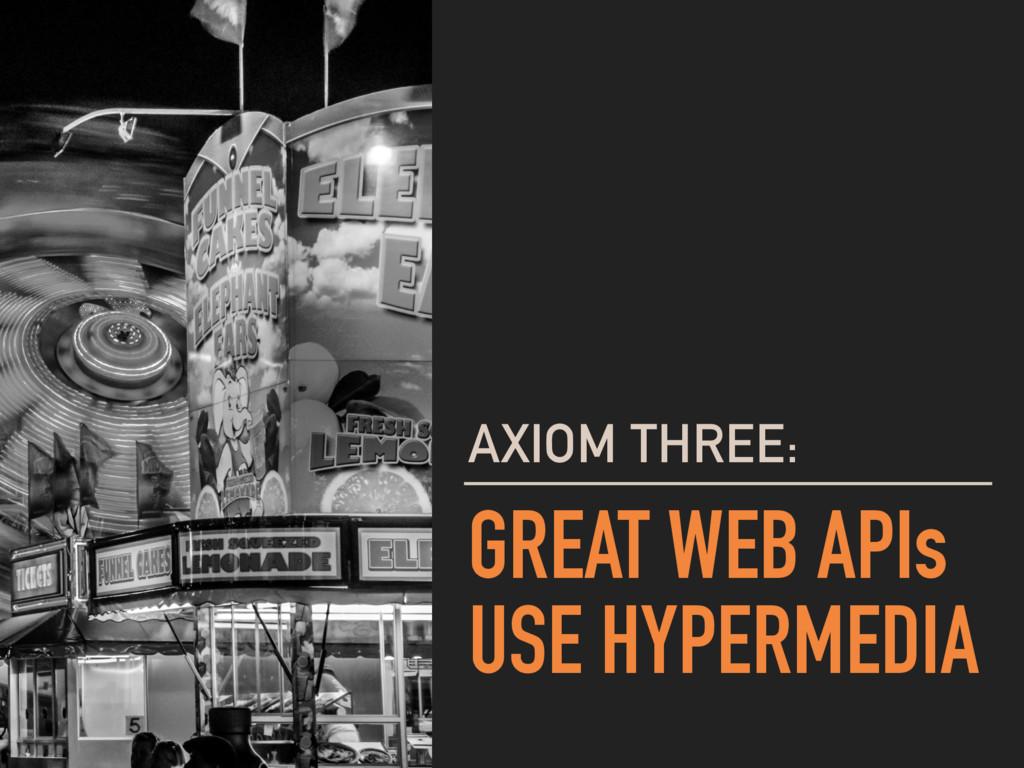 GREAT WEB APIs USE HYPERMEDIA AXIOM THREE: