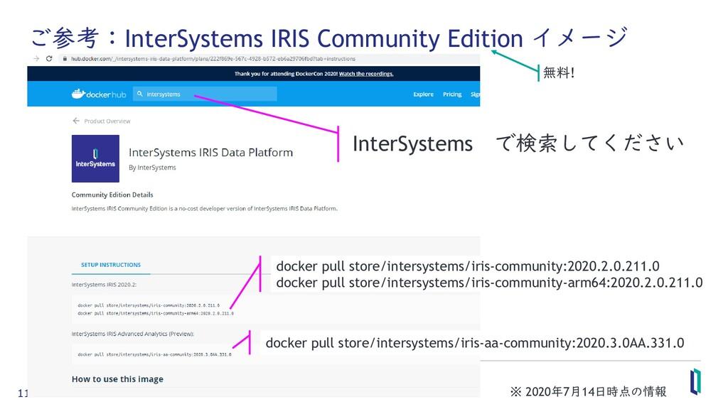 11 ご参考:InterSystems IRIS Community Edition イメージ...
