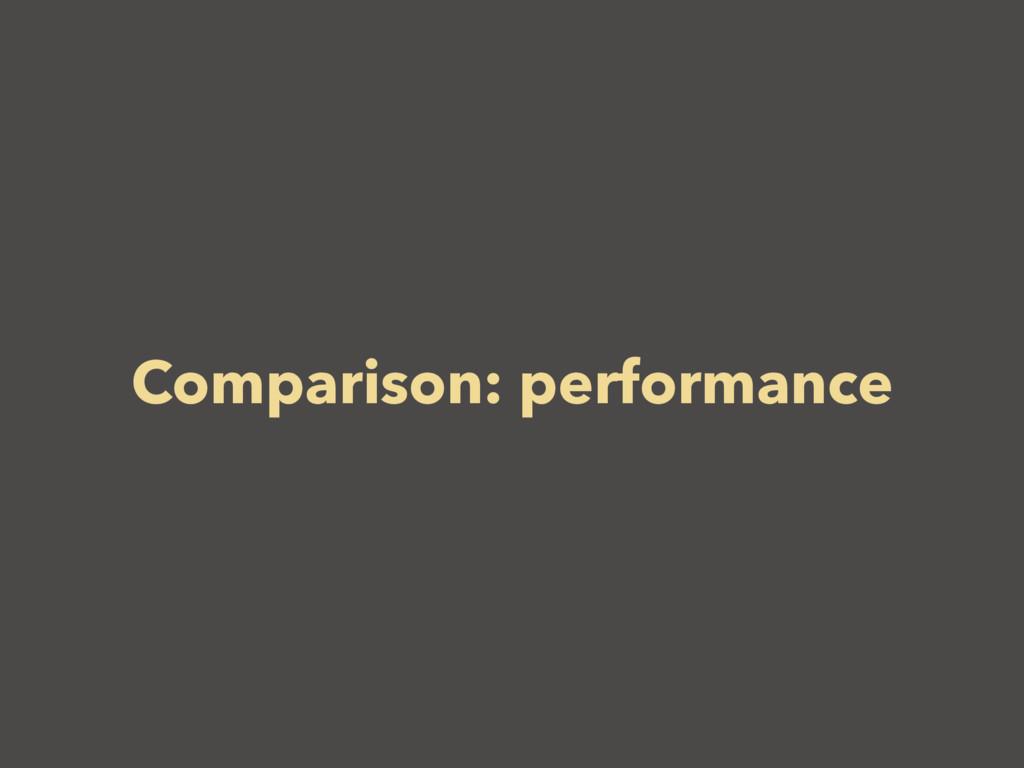 Comparison: performance