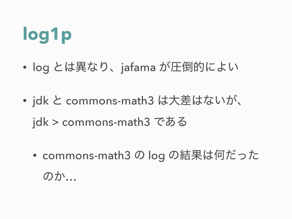 log1p • log ͱҟͳΓɺjafama ͕ѹతʹΑ͍ • jdk ͱ common...