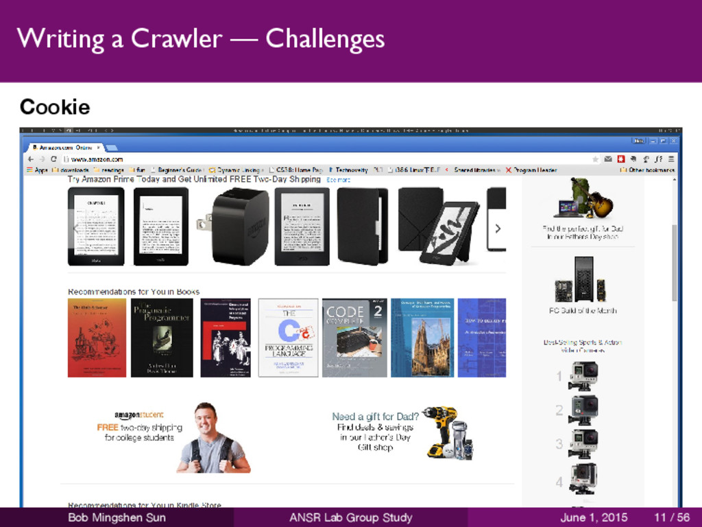 Writing a Crawler — Challenges Cookie Bob Mings...