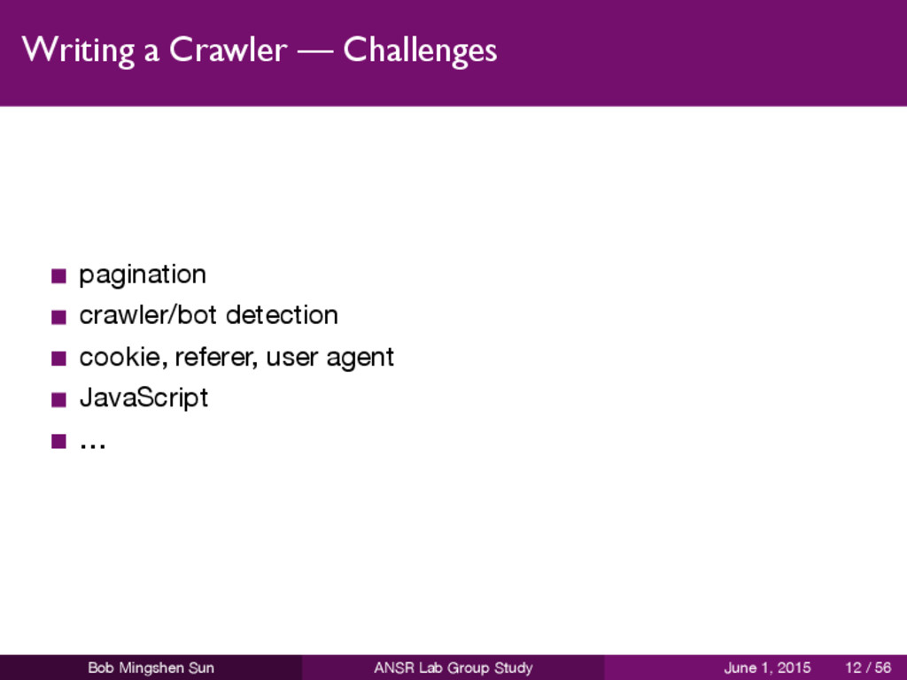 Writing a Crawler — Challenges pagination crawl...