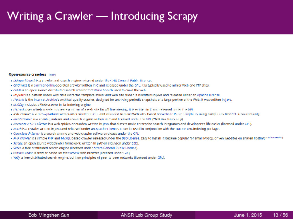 Writing a Crawler — Introducing Scrapy Bob Ming...