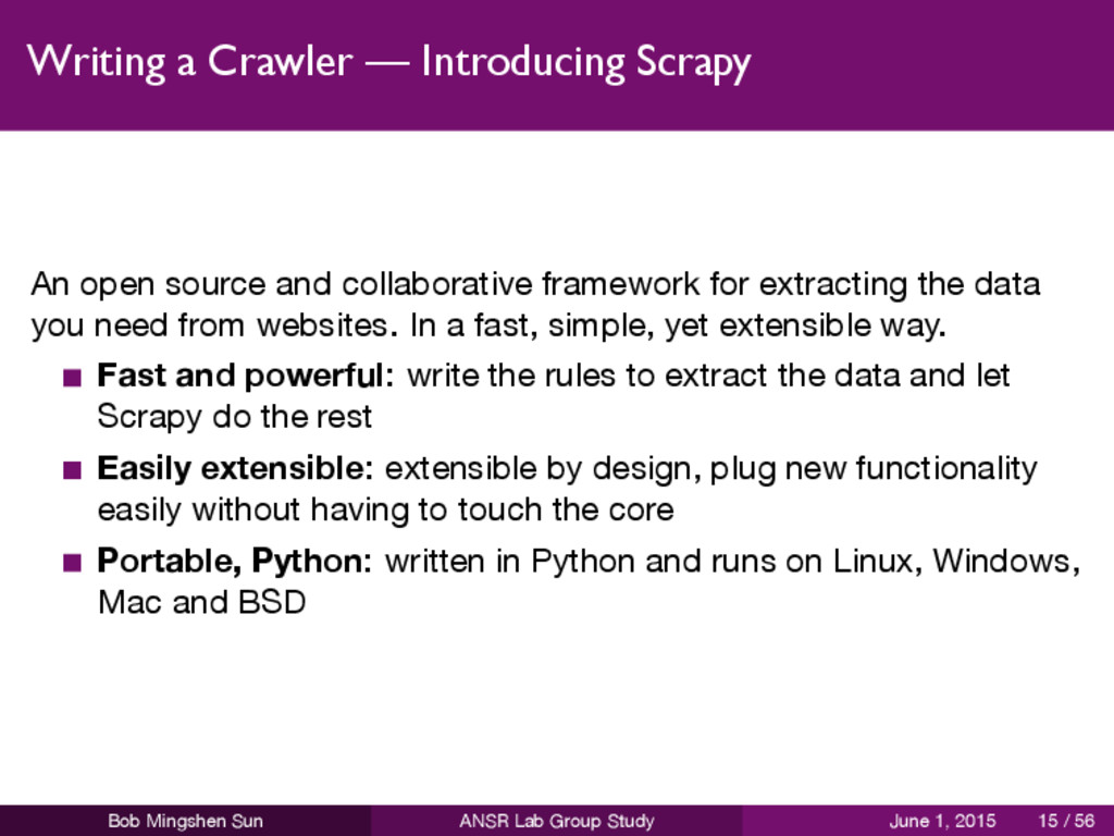 Writing a Crawler — Introducing Scrapy An open ...