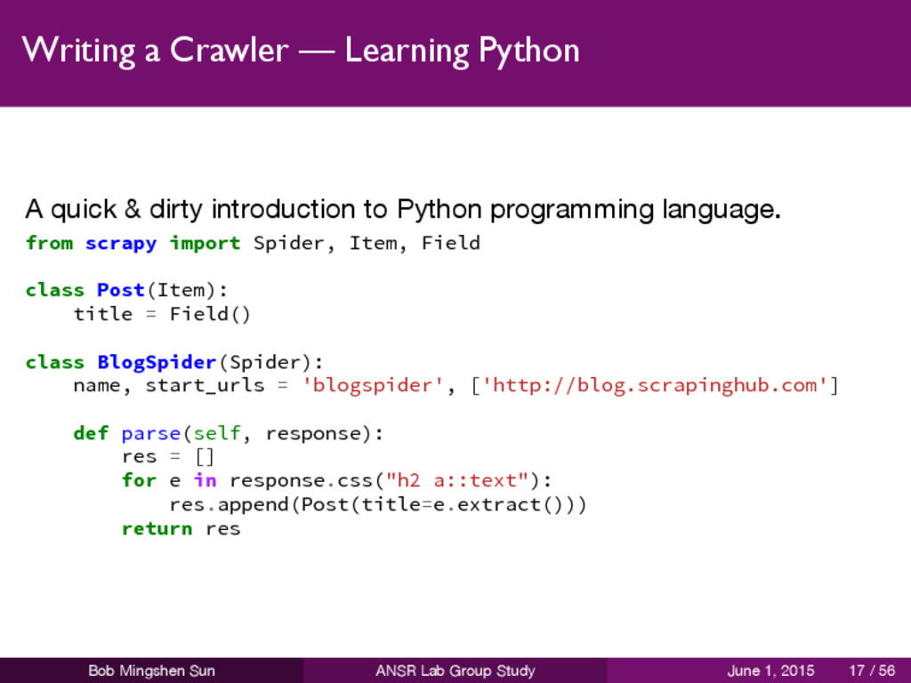 Writing a Crawler — Learning Python A quick & d...