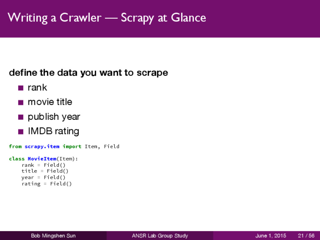 Writing a Crawler — Scrapy at Glance define the ...