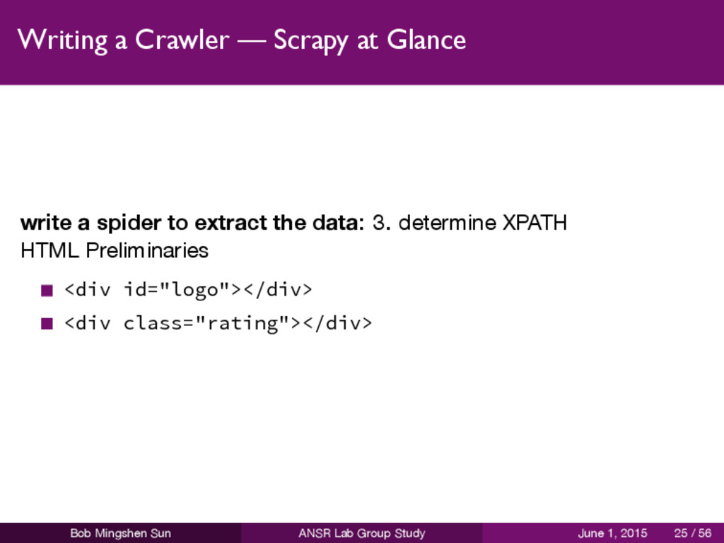 Writing a Crawler — Scrapy at Glance write a sp...