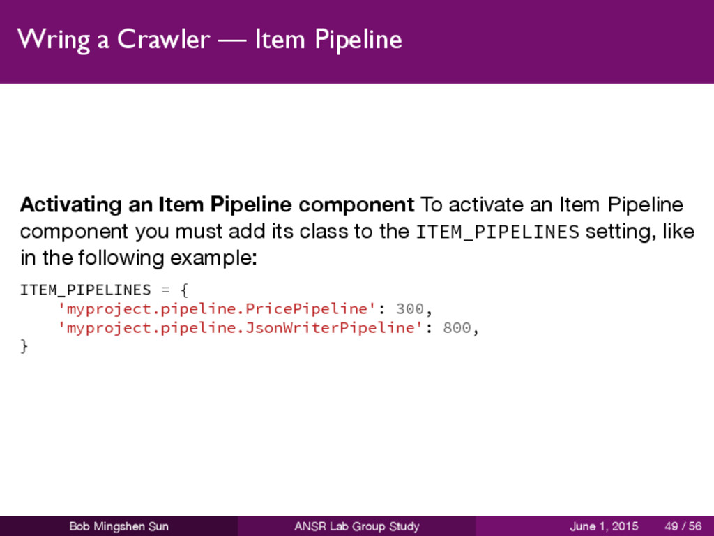 Wring a Crawler — Item Pipeline Activating an I...