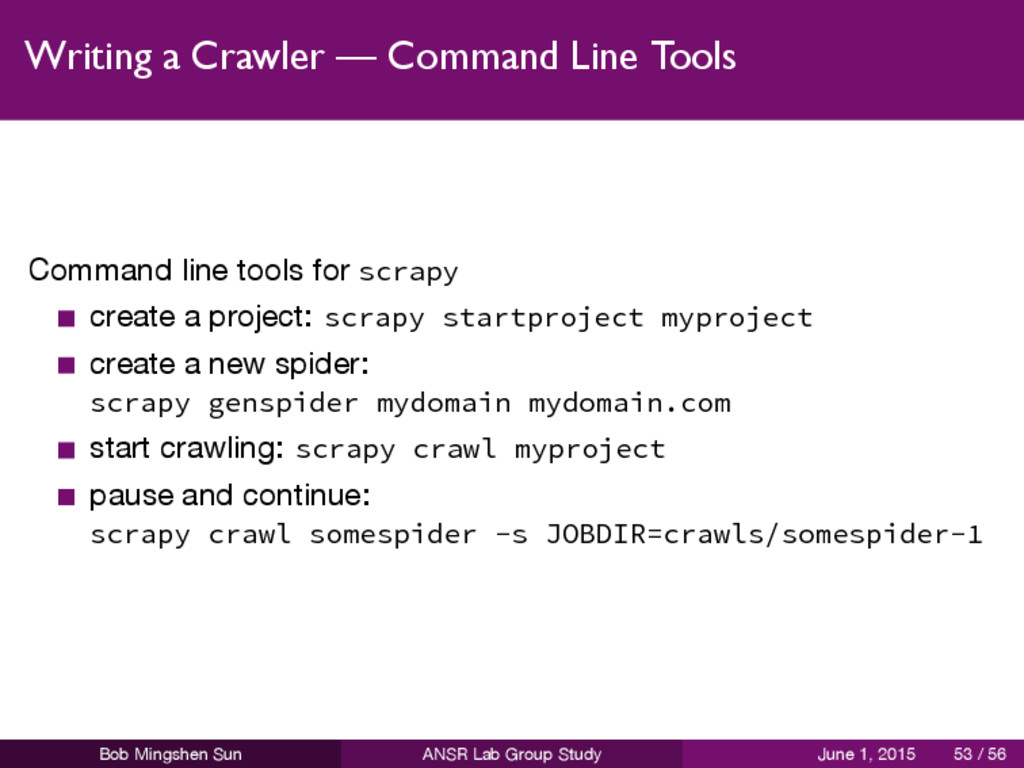 Writing a Crawler — Command Line Tools Command ...