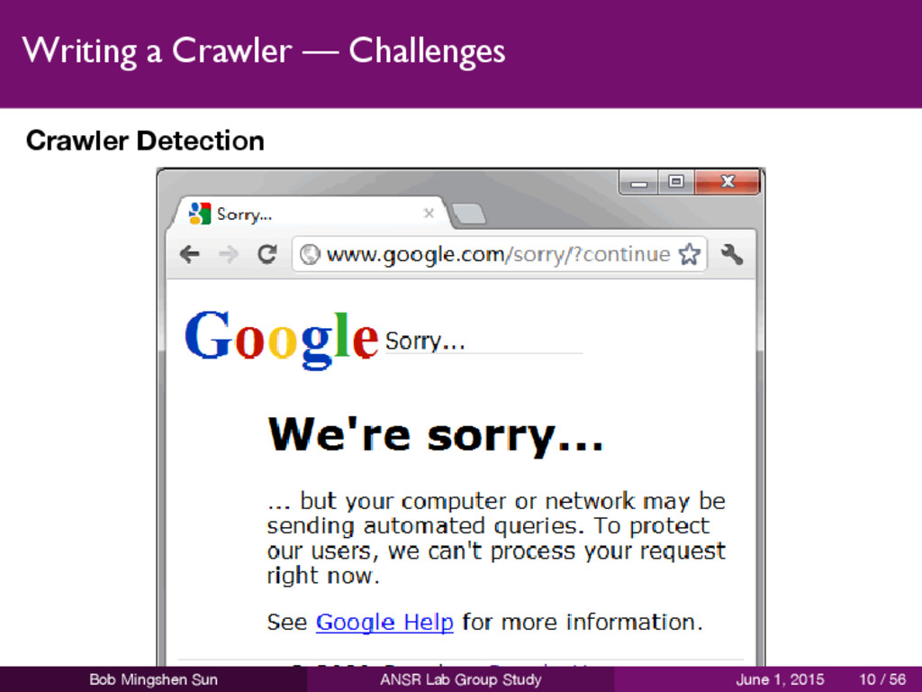 Writing a Crawler — Challenges Crawler Detectio...