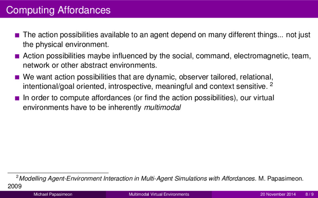 Computing Affordances The action possibilities ...