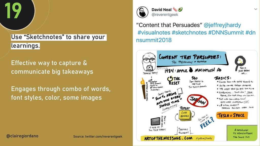 """@clairegiordan o Use """"Sketchnotes"""" to share you..."""