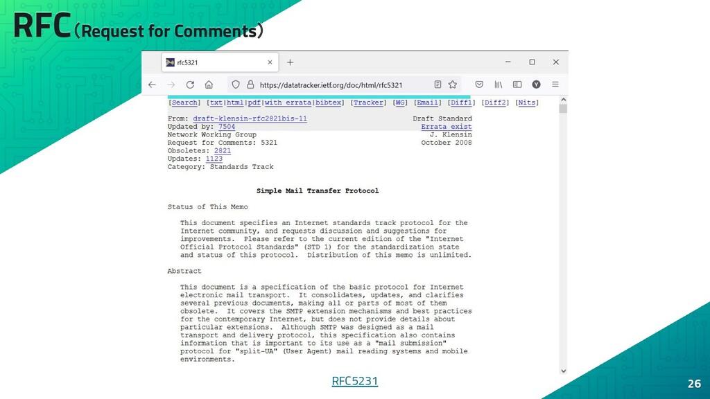 RFC(Request for Comments) 26 RFC5231
