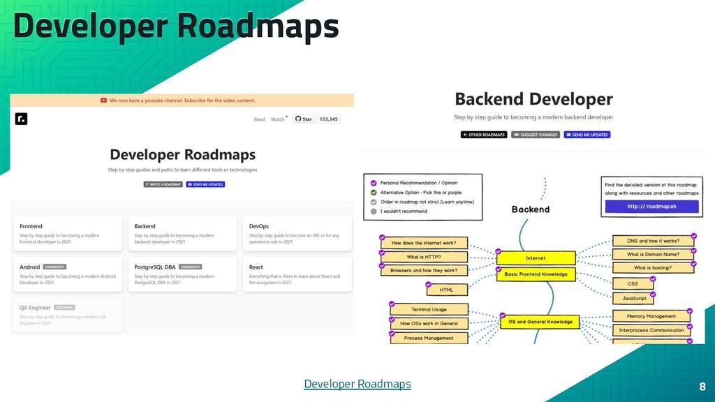 Developer Roadmaps 8 Developer Roadmaps