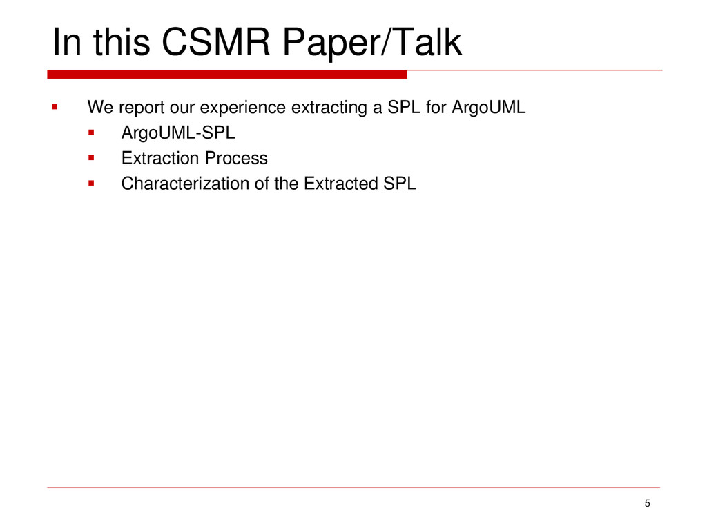 In this CSMR Paper/Talk  We report our experie...