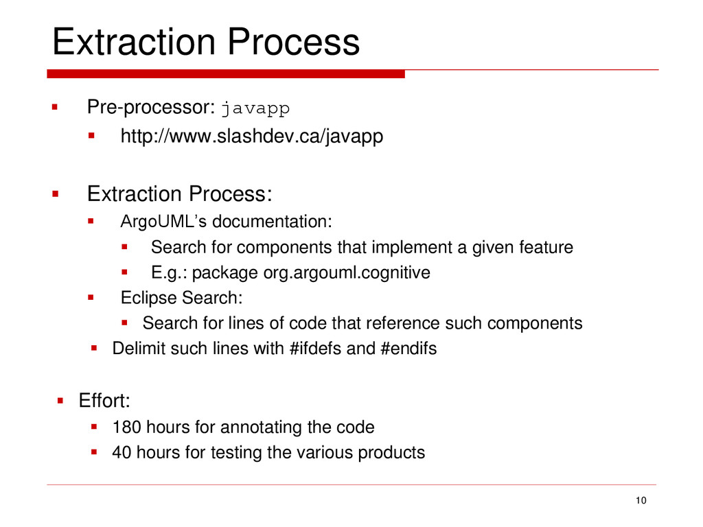 Extraction Process  Pre-processor: javapp  ht...
